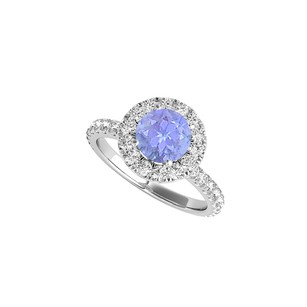 LoveBrightJewelry 925 Sterling Silver Halo Ring with Tanzanite and CZ