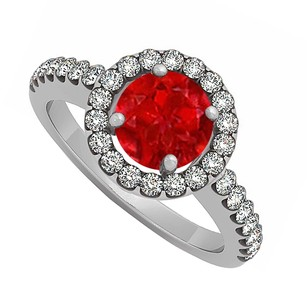 LoveBrightJewelry 925 Sterling Silver July Birthstone Ruby And Cubic Zirconia Halo Engagement Ring