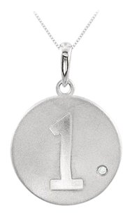 LoveBrightJewelry 925 Sterling Silver Numeric 1 Disc Pendant with Single Triple AAA Quality CZ of 0.005 Carat
