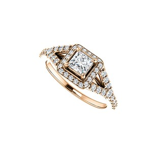 LoveBrightJewelry Adorable Pink Hue 14k Rose Gold Square Cz Halo Ring