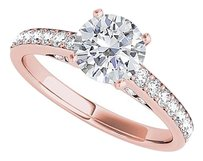 LoveBrightJewelry All Time Favorite Round CZ Engagement Ring Rose Vermeil