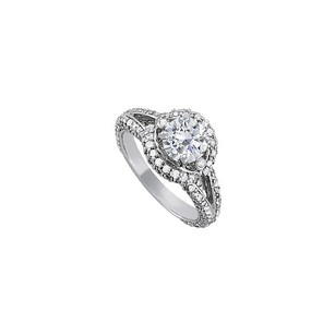 LoveBrightJewelry Amazing Cubic Zirconia Split Shank Ring In 14k White Gold Gorgeous Design Coolest Price Offer