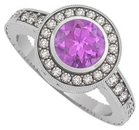 LoveBrightJewelry Amethyst and CZ Engagement Ring in 925 Sterling Silver