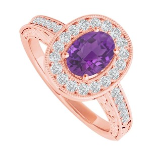 LoveBrightJewelry Amethyst And Cz Halo Ring In 14k Rose Gold Vermeil