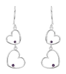 LoveBrightJewelry Amethyst Double Heart Dangle Earrings in Rhodium Treated 925 Sterling Silver 38.50X12.50 MM