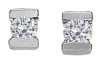 LoveBrightJewelry April Birthstone Channel Set CZs Earrings in Sterling Silver