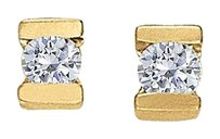 LoveBrightJewelry April Birthstone Channel Set Diamonds Earrings in 14K Yellow Gold