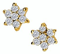 LoveBrightJewelry April Birthstone Cubic Zirconia 7 Stone Cluster Earrings in 18K Yellow Gold Vermeil