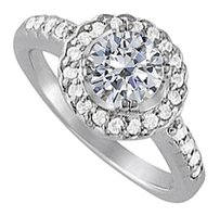 LoveBrightJewelry April Birthstone Cubic Zirconia 925 Sterling Silver Halo Engagement Ring 1.50 CT TGW