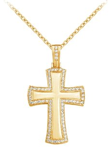 LoveBrightJewelry April Birthstone Cubic Zirconia Cross Pendant in 18K Yellow Gold Vermeil 3.50 CT TGW