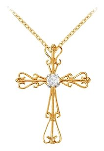 LoveBrightJewelry April Birthstone Cubic Zirconia Cross Pendant in 18K Yellow Gold Vermeil