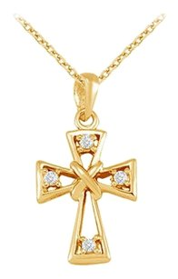LoveBrightJewelry April Birthstone Cubic Zirconia Cross Pendant in 18K Yellow Gold Vermeil over 925 Silver