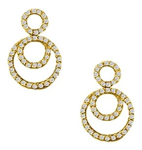 LoveBrightJewelry April Birthstone Cubic Zirconia Double Circle Earrings in 18K Yellow Gold Vermeil 0.75 CT TGW