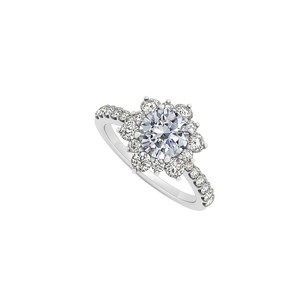 LoveBrightJewelry April Birthstone Cubic Zirconia Floral 925 Sterling Silver Engagement Ring
