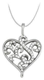 LoveBrightJewelry April birthstone Cubic Zirconia Heart Pendant in Sterling Silver 0.25 CT TGW, Valentine Day Gift