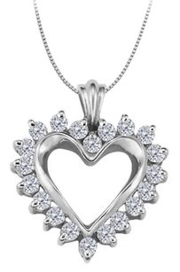 LoveBrightJewelry April birthstone Cubic Zirconia Heart Pendant in Sterling Silver 0.50 CT TGW
