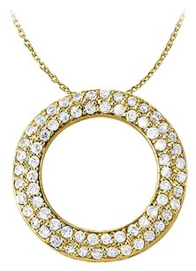 LoveBrightJewelry April Birthstone Cubic Zirconia Pretty Circle Pendant in Yellow Gold Vermeil with Free Chain