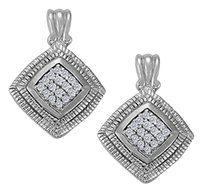 LoveBrightJewelry April Birthstone Cubic Zirconia Square Earrings in Sterling Silver 0.75 CT TGW