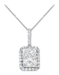 LoveBrightJewelry April Birthstone Cubic Zirconia Square Halo Pendant in 925 Sterling Silver