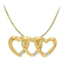 LoveBrightJewelry April Birthstone Cubic Zirconia Triple Hearts Pendant in Yellow Gold Vermeil with Free Chain
