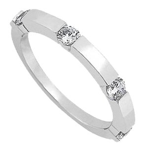 LoveBrightJewelry April Birthstone Cubic Zirconia Wedding Band in Sterling Silver 0.40 CT TGW