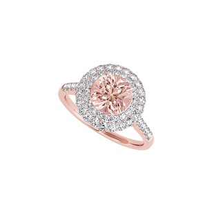 LoveBrightJewelry April Birthstone Cz And Morganite Halo Engagement Ring