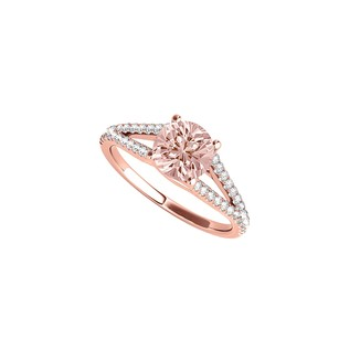 LoveBrightJewelry April Birthstone Cz And Morganite Ring With Split Shank