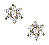 LoveBrightJewelry April Birthstone Diamonds 7 Stone Cluster Earrings in 14K Yellow Gold