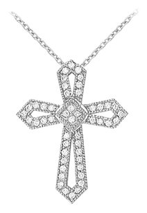 LoveBrightJewelry April Birthstone Diamonds Cross Pendant in 14K White Gold
