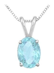 LoveBrightJewelry Aquamarine Solitaire Pendant in Rhodium Treated 925 Sterling Silver 3.00 CT TGW
