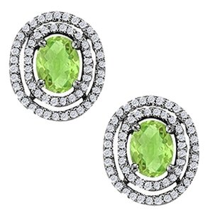 LoveBrightJewelry August Birthstone Peridot Oval Halo Earrings with CZ in Sterling Silver