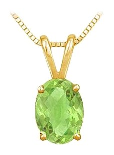LoveBrightJewelry August Birthstone Peridot Oval Pendant in Gold Vermeil over 925 Silver