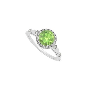 LoveBrightJewelry August Birthstone Round Peridot And Cubic Zirconia Engagement Ring In Sterling Silver