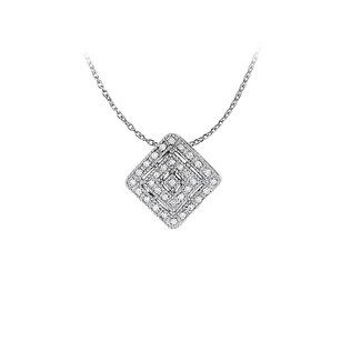 LoveBrightJewelry Awesome Cubic Zirconia Square Pendant in 14K White Gold