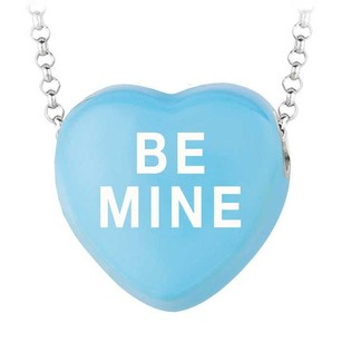 LoveBrightJewelry Be Mine Blue Heart Pendant Necklace With Rolo Chain
