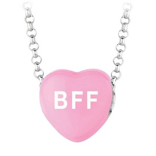 LoveBrightJewelry Be My Friend Forever Dark Pink Heart Pendant Necklace
