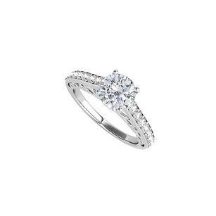 LoveBrightJewelry Beautiful Cubic Zirconia Ring In 14k White Gold