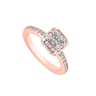 LoveBrightJewelry Best Cubic Zirconia Engagement Ring 14k Rose Gold