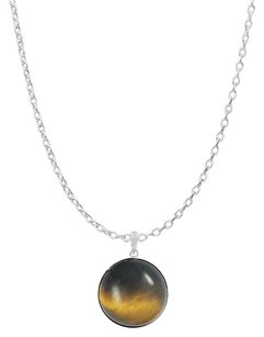 LoveBrightJewelry Bezel Set Tiger Eye Pendant Crafted in Sterling Silver