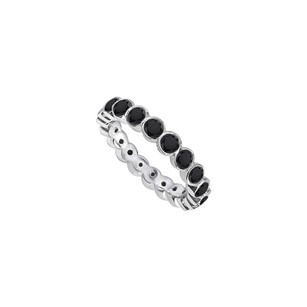 LoveBrightJewelry Black Diamond Eternity Band 14k White Gold 2.00 Ct Diamonds