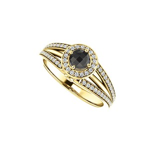 LoveBrightJewelry Black Onyx Cz Double Halo Ring 18k Yellow Gold Vermeil