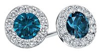 LoveBrightJewelry Blue and White Diamond Halo Stud Earrings in 14K White Gold 1.00.ct.tw