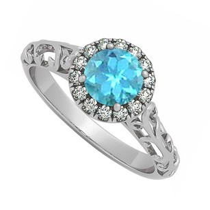 LoveBrightJewelry Blue Topaz And Cubic Zirconia Halo Filigree Engagement Ring In 925 Sterling Silver