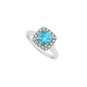 LoveBrightJewelry Blue Topaz And Cz Halo Engagement Ring In Sterling Silver December Birthstone Latest Design