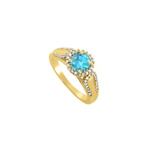 LoveBrightJewelry Blue Topaz And Cz Halo Engagement Ring In Yellow Gold Vermeil Over 925 Sterling Silver