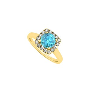 LoveBrightJewelry Blue Topaz And Cz Square Halo Fashion Engagement Ring In 18k Yellow Gold Vermeil Latest Fashion