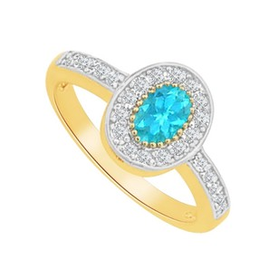 LoveBrightJewelry Blue Topaz Cz Oval Shaped Ring In Yellow Gold Vermeil