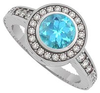 LoveBrightJewelry BlueTopaz and CZ Engagement Ring in 925 Sterling Silver