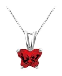 LoveBrightJewelry Butterfly Red CZ Petite Baby Charm Pendant in 925 Sterling Silver Birthstone for January