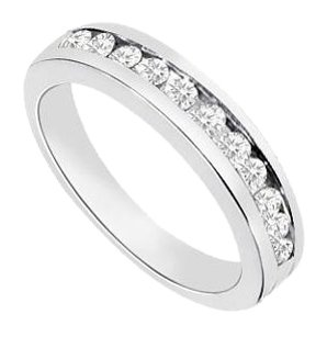 LoveBrightJewelry Channel set Cubic Zirconia Half Eternity Wedding Band Sterling Silver 0.35 CT CZs